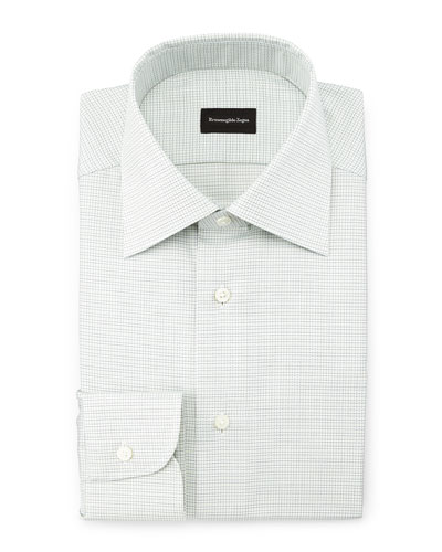 Textured Grid-Check Woven Dress Shirt, Mint