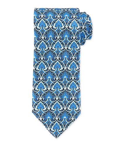Fancy Spade-Print Silk Tie, Blue