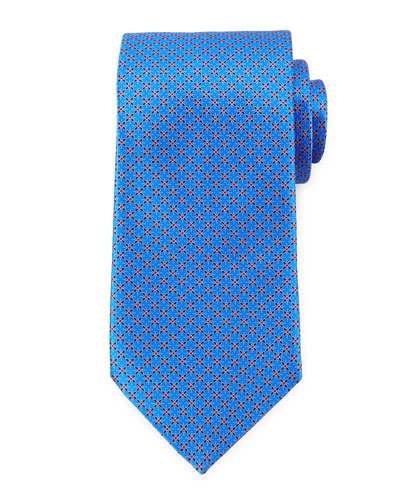 Dotted-Lattice Diamond Pattern Tie, Blue/Orange