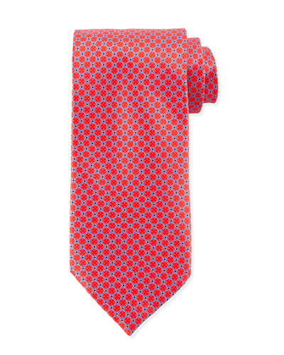 Dotted-Lattice Diamond Pattern Tie, Red
