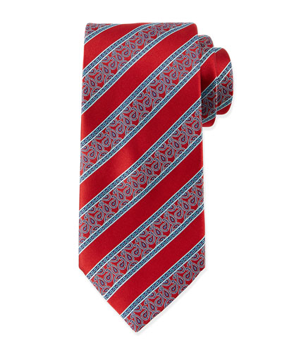 Stripe & Paisley-Print Silk Tie, Red