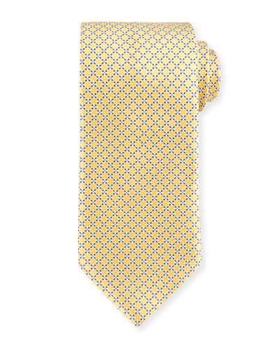 Dotted Lattice Silk Tie, Yellow
