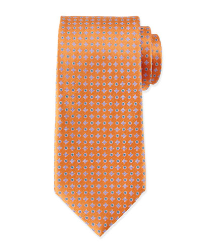 Circle and Cross Neat Tie, Orange