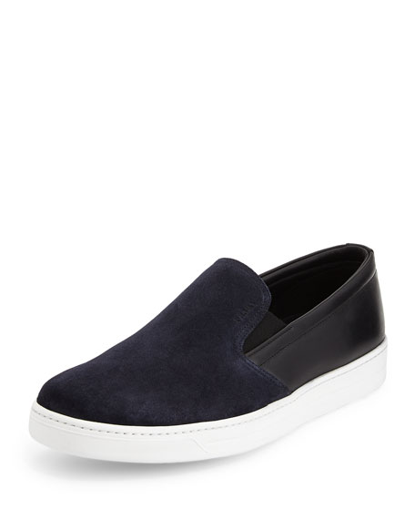 Bicolor Suede & Leather Sneaker, Blue/Black