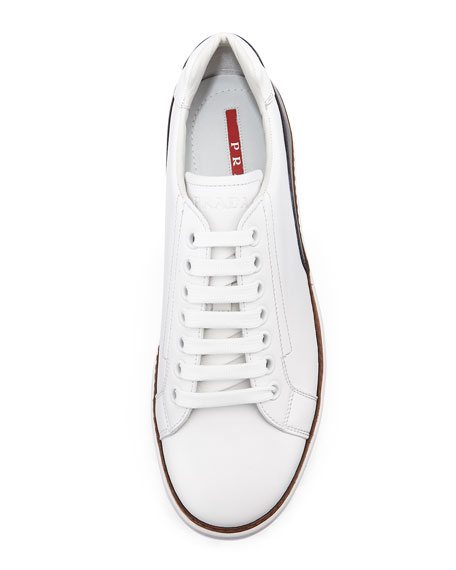 Low-Top Leather Sneaker, White