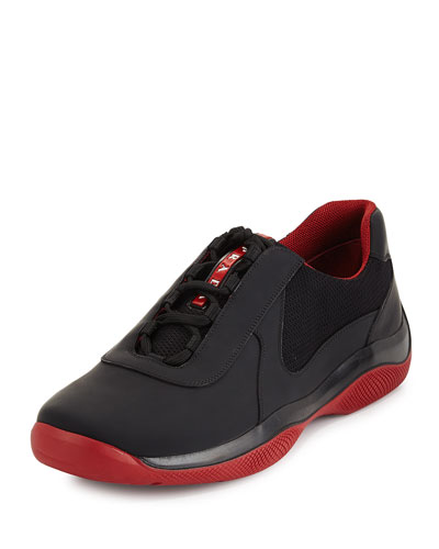 America's Cup Leather Sneaker, Black/Red