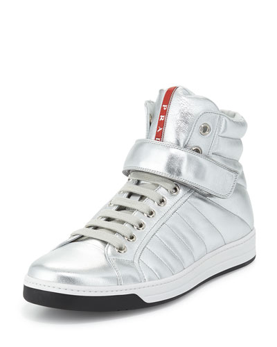 Quilted Leather High-Top Sneaker, Silver