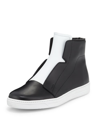 Laceless Leather High-Top Sneaker, Black/White