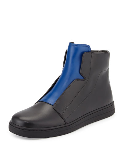 Leather High-Top Sneaker, Black/Blue