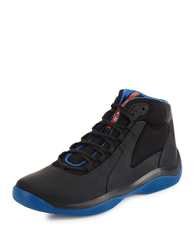 Mesh & Leather High-Top Sneaker, Blue/Black