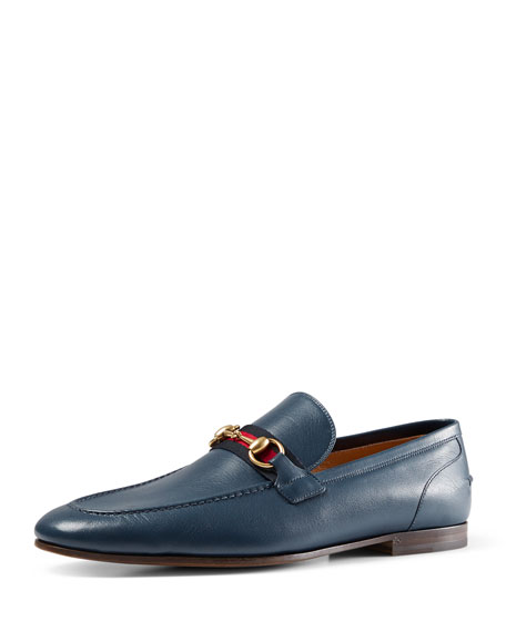 Gucci Leather Loafer with Web Detail, Blue