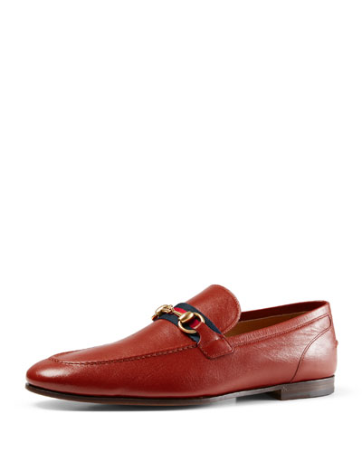 Leather Loafer with Web Detail, Red