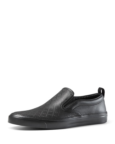Diamante Leather Slip-On Sneaker, Black