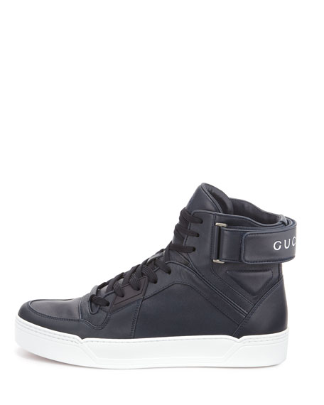 100c0ad37f0 Gucci New Basketball Leather High-Top Sneaker