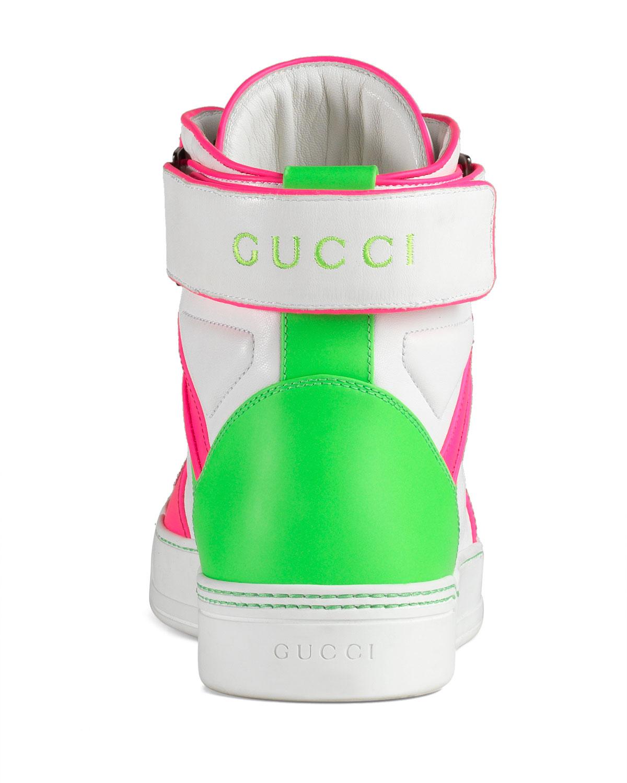 749b75d65 Gucci New Basketball High-Top, Neon/White | Neiman Marcus