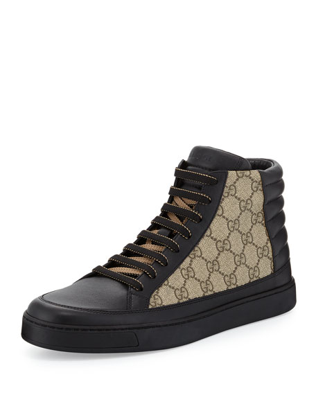 Gucci Common Leather High-Top Sneaker, Black/Beige