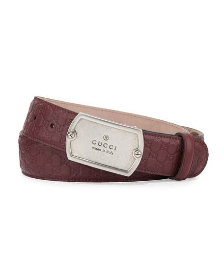 Gucci Microguccissima Belt with Dog Tag Buckle