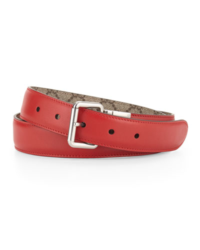 Reversible Leather/Canvas Belt, Red/Beige