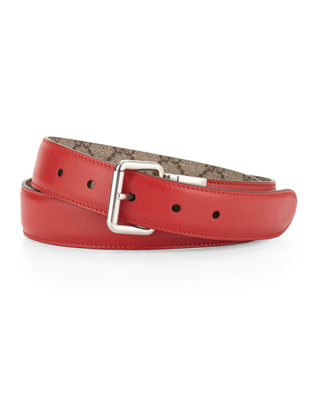 Gucci Reversible Leather/Canvas Belt, Red/Beige