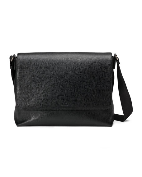 Gucci Leather Medium Flap Messenger Bag, Black