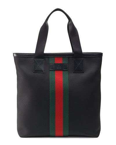 Web Band Canvas Tote, Black