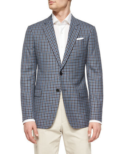 G-Line Check Two-Button Blazer, Blue/Brown