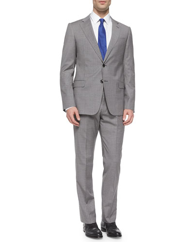 S-Line Medium-Check Two-Button Suit, Gray/Tan
