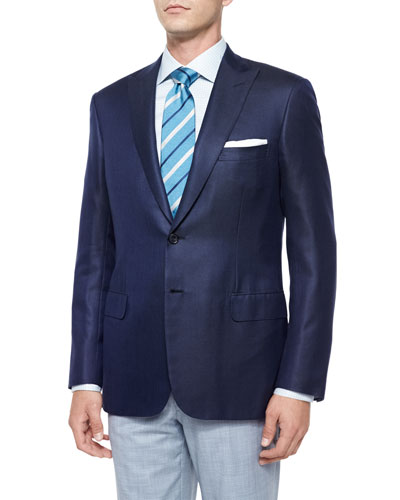 Solid Two-Button Jacket, Navy