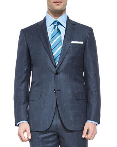 Super 150s Wool Windowpane Suit, Blue