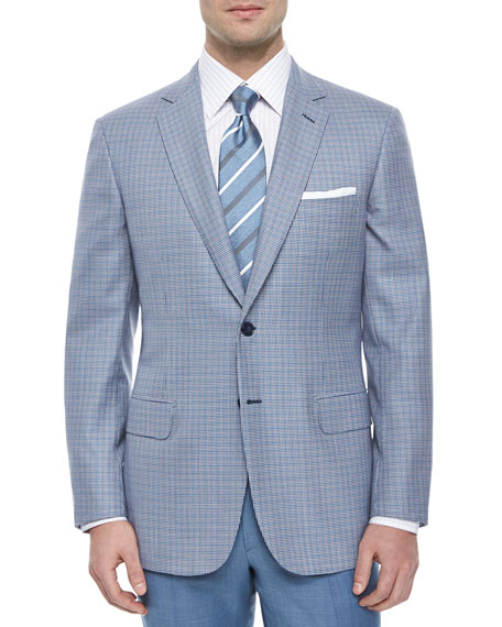 Brioni Micro Houndstooth Two-Button Jacket, Blue/Purple