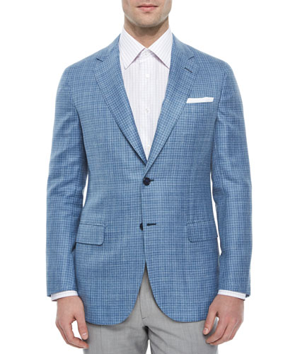 Check Two-Button Jacket, Light Blue