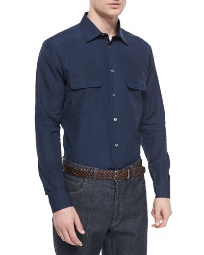 Solid Sport Shirt with Western-Pockets, Navy