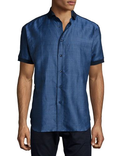 Short-Sleeve Linen Shirt, Blue