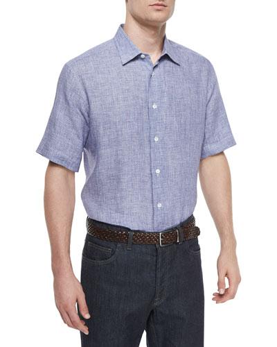 Box-Weave Short-Sleeve Linen Shirt, Navy