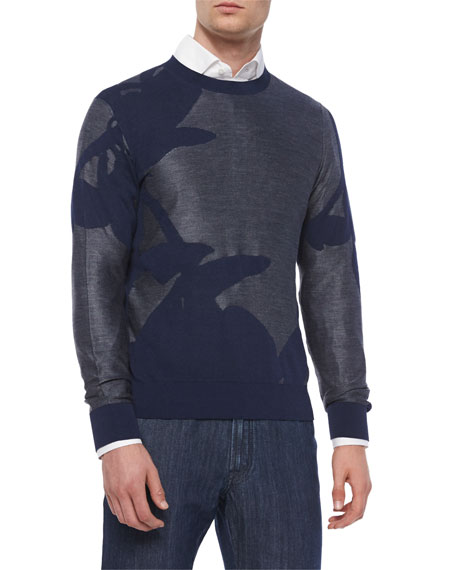 Brioni Mixed Media Floral-Print Sweater, Navy