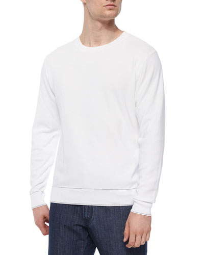 Small Waffle-Knit Crewneck Sweater, White
