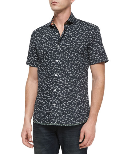 Victor 62 Printed Short-Sleeve Sport Shirt, Black