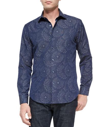 Blake 83 Printed Long-Sleeve Sport Shirt, Navy