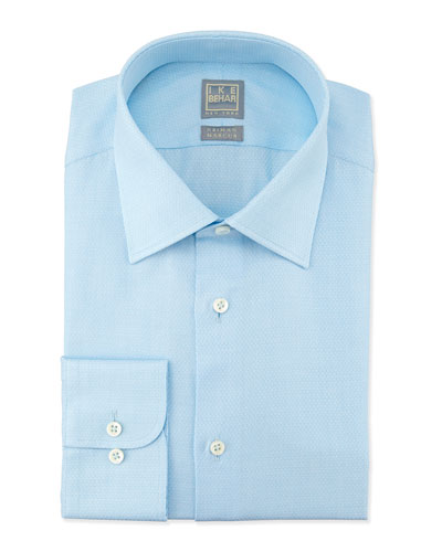 Textured Grid-Check Dress Shirt, Aqua