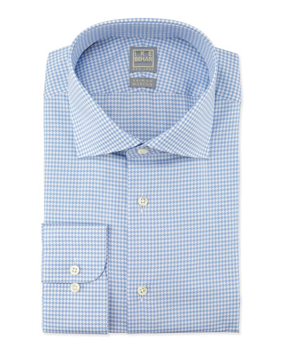 Textured Houndstooth Woven Dress Shirt, Blue