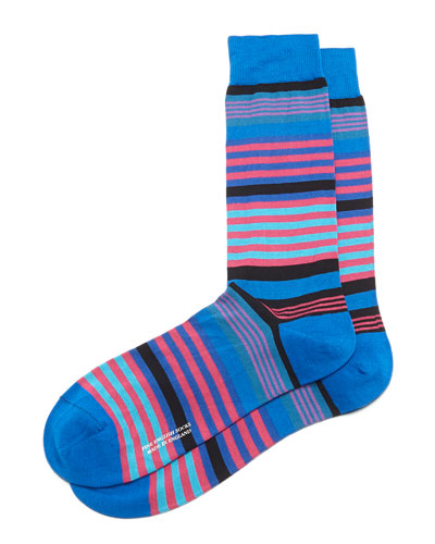 Mid-Calf Multi-Stripe Dress Socks, Royal