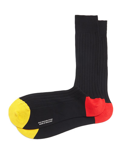 Mid-Calf Contrast Toe/Heel Ribbed Socks, Black