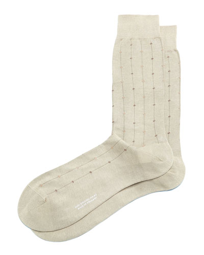 Mid-Calf Diamond-Dot-Print Dress Socks, Light Khaki