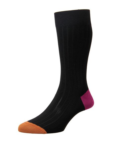 Contrast Heel/Toe Ribbed Dress Socks, Charcoal