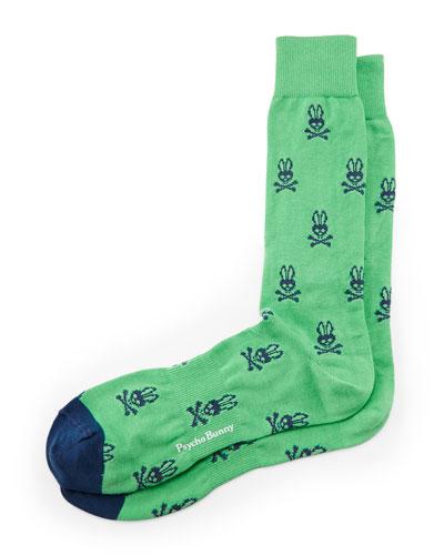 Allover Bunny Socks, Green