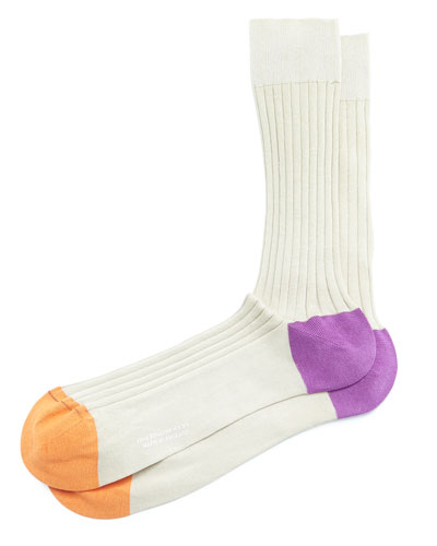 Contrast Heel/Toe Ribbed Dress Socks, Sand