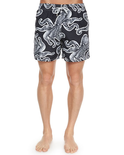 Moorea Octopus-Print Swim Trunks, Black