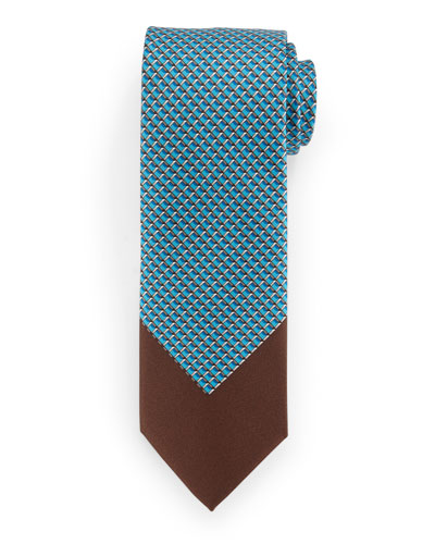 Colorblock 3D Grid-Box Patterned Tie, Teal