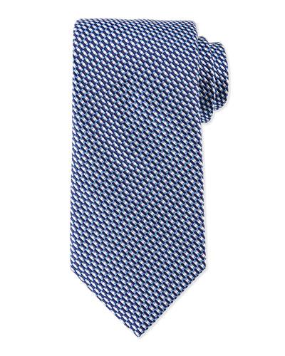 Diagonal Basket-Weave Tie, Navy