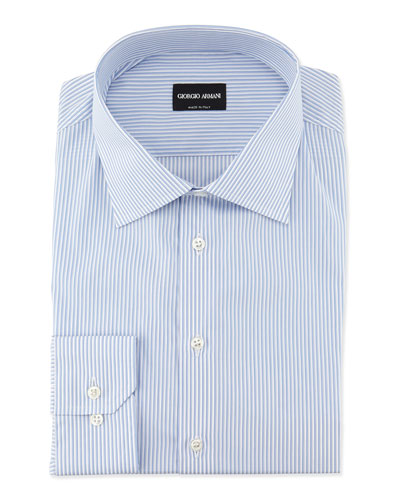Striped Woven Dress Shirt, Light Blue/White